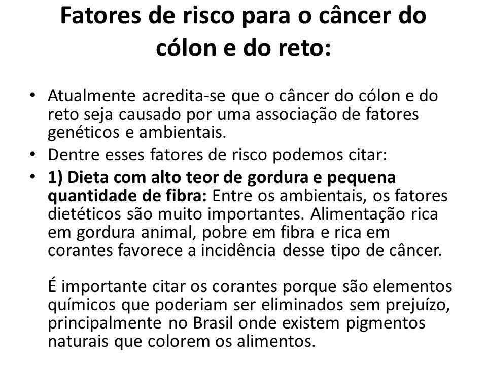 Outros exames utilizados para o diagnóstico precoce do câncer colorretal: Pesquisa de sangue oculto nas fezes; Retossigmoidoscopia; Enema opaco com duplo contraste; Colonoscopia virtual