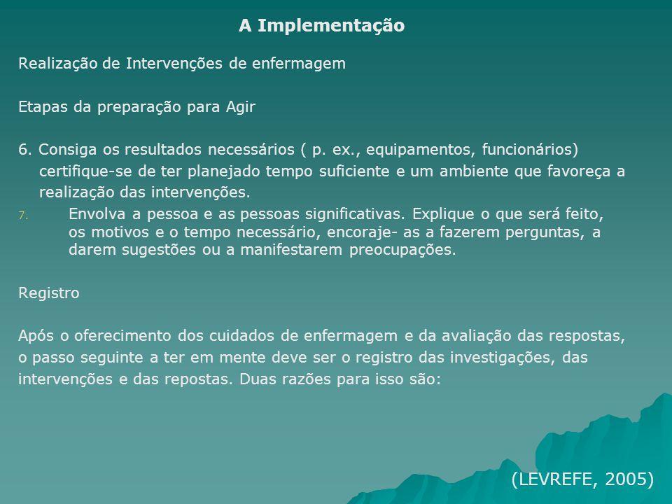 Realização de Intervenções de enfermagem Etapas da preparação para Agir 6. Consiga os resultados necessários ( p. ex., equipamentos, funcionários) cer