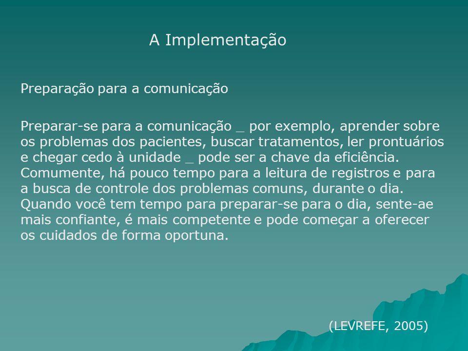 Preparação para a comunicação Preparar-se para a comunicação _ por exemplo, aprender sobre os problemas dos pacientes, buscar tratamentos, ler prontuá