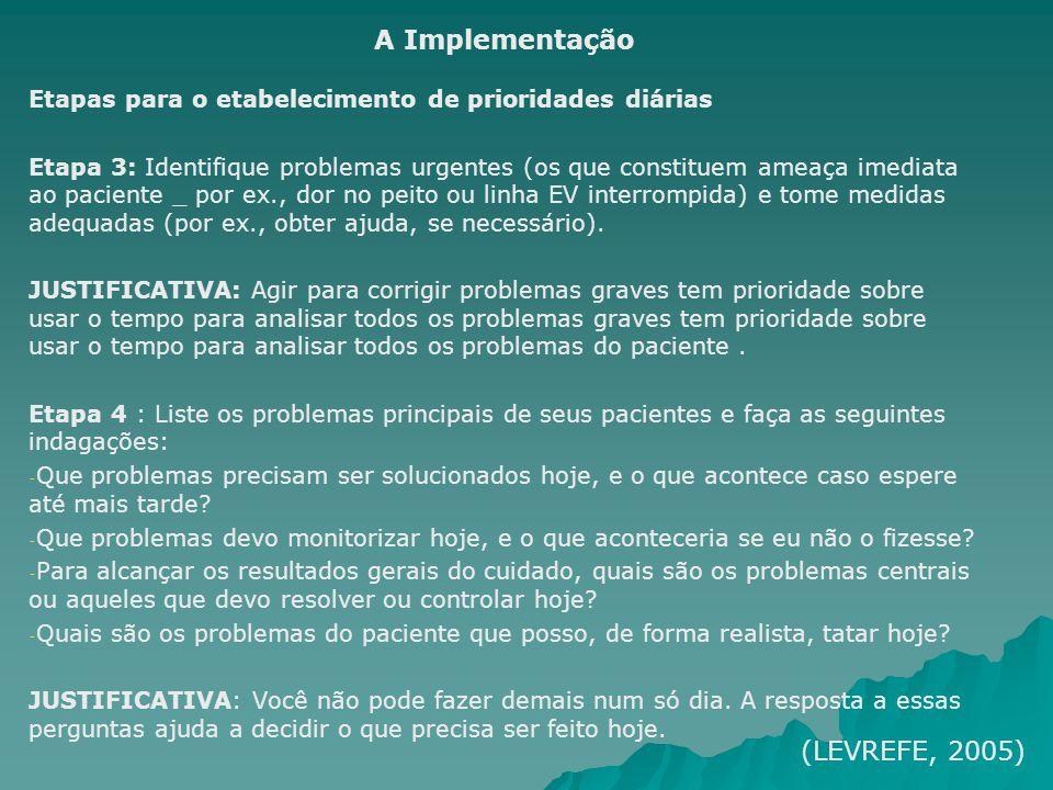 Etapas para o etabelecimento de prioridades diárias Etapa 3: Identifique problemas urgentes (os que constituem ameaça imediata ao paciente _ por ex.,