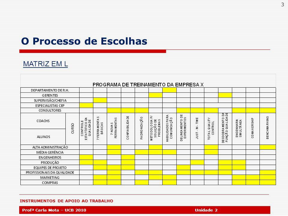 INSTRUMENTOS DE APOIO AO TRABALHO Profª Carla Mota – UCB 2010Unidade 2 3 O Processo de Escolhas MATRIZ EM L