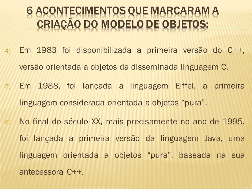 4) Em 1983 foi disponibilizada a primeira versão do C++, versão orientada a objetos da disseminada linguagem C.