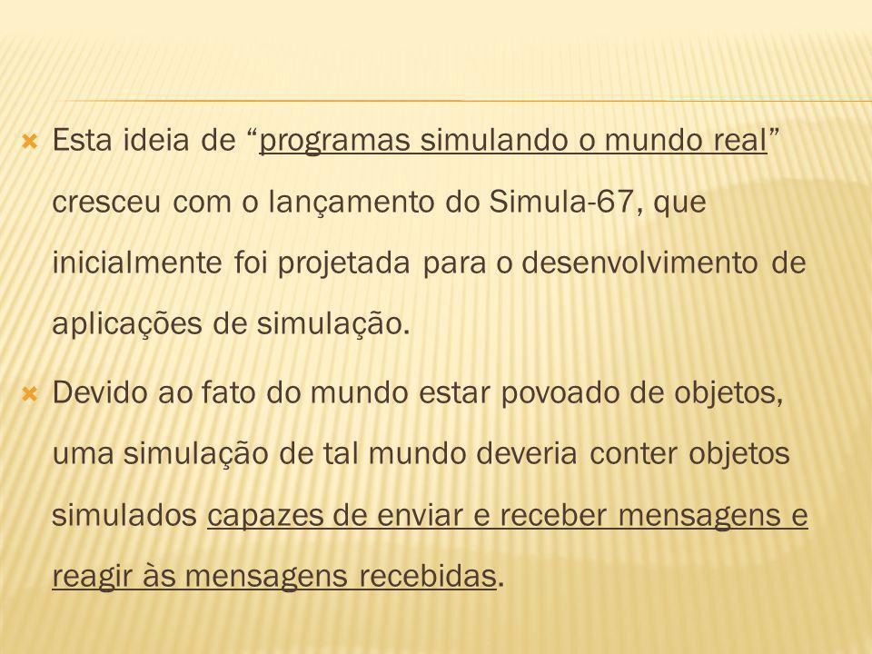 Esta ideia de programas simulando o mundo real cresceu com o lançamento do Simula-67, que inicialmente foi projetada para o desenvolvimento de aplicações de simulação.