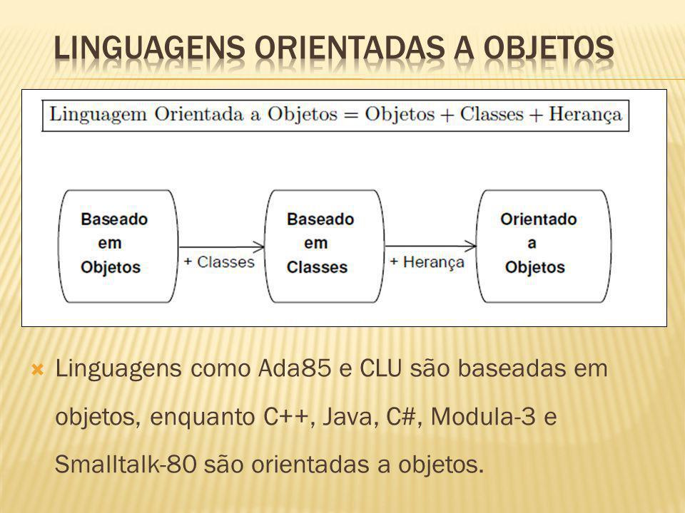 Linguagens como Ada85 e CLU são baseadas em objetos, enquanto C++, Java, C#, Modula-3 e Smalltalk-80 são orientadas a objetos.