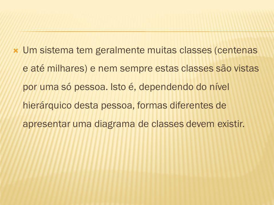 Um sistema tem geralmente muitas classes (centenas e até milhares) e nem sempre estas classes são vistas por uma só pessoa.