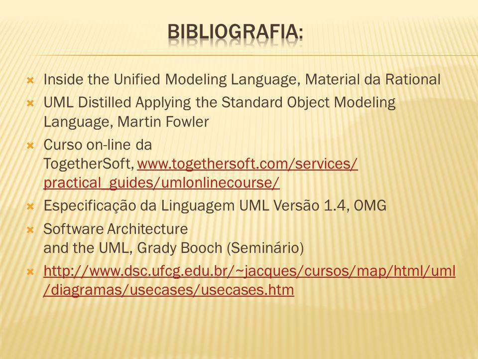 Inside the Unified Modeling Language, Material da Rational UML Distilled Applying the Standard Object Modeling Language, Martin Fowler Curso on-line da TogetherSoft, www.togethersoft.com/services/ practical_guides/umlonlinecourse/www.togethersoft.com/services/ practical_guides/umlonlinecourse/ Especificação da Linguagem UML Versão 1.4, OMG Software Architecture and the UML, Grady Booch (Seminário) http://www.dsc.ufcg.edu.br/~jacques/cursos/map/html/uml /diagramas/usecases/usecases.htm http://www.dsc.ufcg.edu.br/~jacques/cursos/map/html/uml /diagramas/usecases/usecases.htm