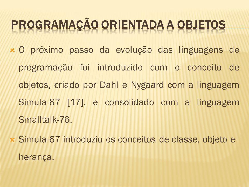 O próximo passo da evolução das linguagens de programação foi introduzido com o conceito de objetos, criado por Dahl e Nygaard com a linguagem Simula-67 [17], e consolidado com a linguagem Smalltalk-76.