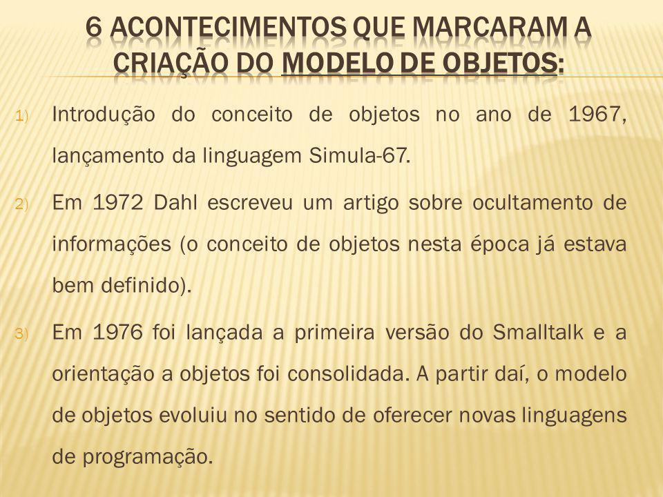 1) Introdução do conceito de objetos no ano de 1967, lançamento da linguagem Simula-67.