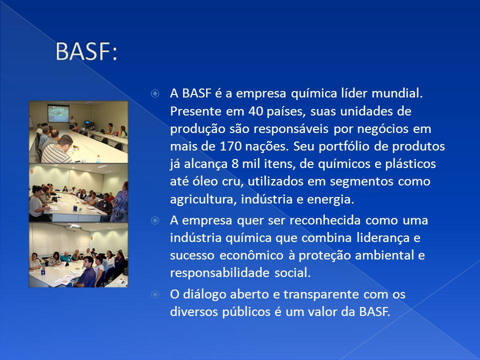 A BASF é a empresa química líder mundial. Presente em 40 países, suas unidades de produção são responsáveis por negócios em mais de 170 nações. Seu po