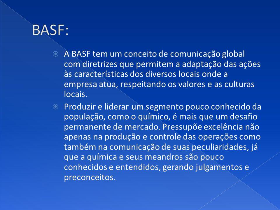 A BASF tem um conceito de comunicação global com diretrizes que permitem a adaptação das ações às características dos diversos locais onde a empresa atua, respeitando os valores e as culturas locais.