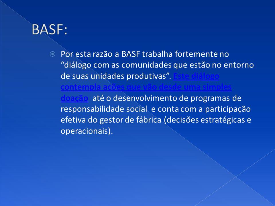 Por esta razão a BASF trabalha fortemente no diálogo com as comunidades que estão no entorno de suas unidades produtivas. Este diálogo contempla ações