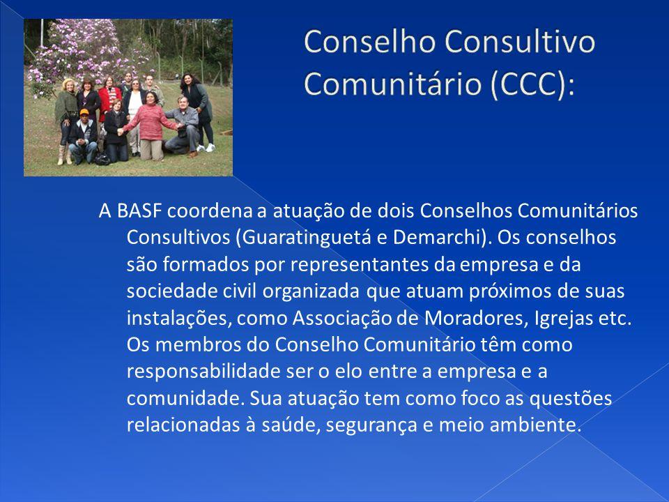 A BASF coordena a atuação de dois Conselhos Comunitários Consultivos (Guaratinguetá e Demarchi).
