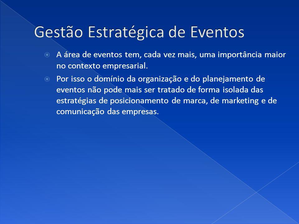 A área de eventos tem, cada vez mais, uma importância maior no contexto empresarial. Por isso o domínio da organização e do planejamento de eventos nã