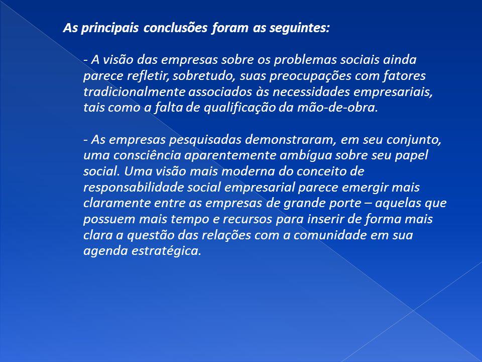 As principais conclusões foram as seguintes: - A visão das empresas sobre os problemas sociais ainda parece refletir, sobretudo, suas preocupações com