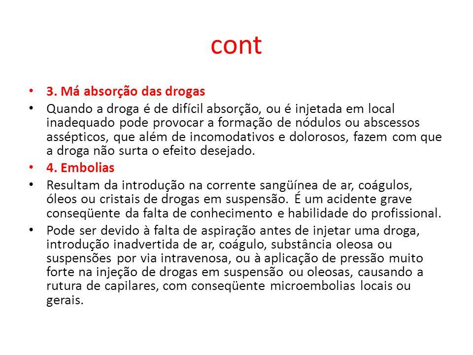 cont 3. Má absorção das drogas Quando a droga é de difícil absorção, ou é injetada em local inadequado pode provocar a formação de nódulos ou abscesso