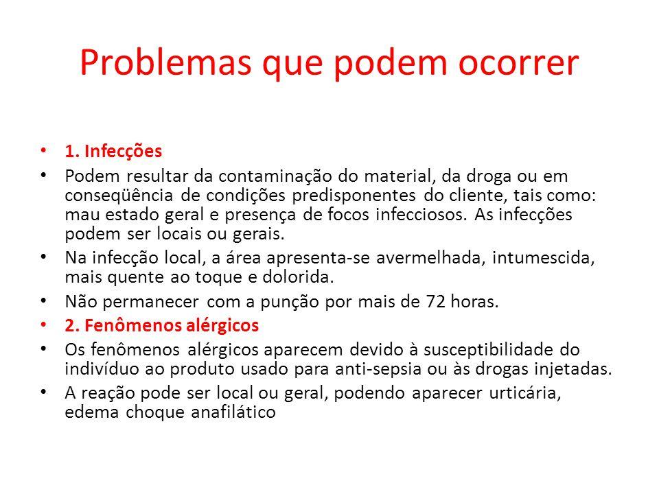 Problemas que podem ocorrer 1. Infecções Podem resultar da contaminação do material, da droga ou em conseqüência de condições predisponentes do client