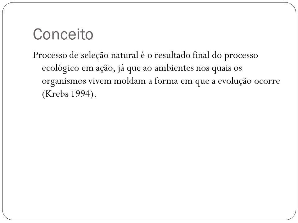 Conceito Processo de seleção natural é o resultado final do processo ecológico em ação, já que ao ambientes nos quais os organismos vivem moldam a for