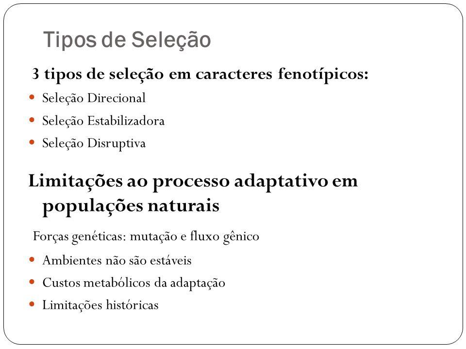 Tipos de Seleção 3 tipos de seleção em caracteres fenotípicos: Seleção Direcional Seleção Estabilizadora Seleção Disruptiva Limitações ao processo ada