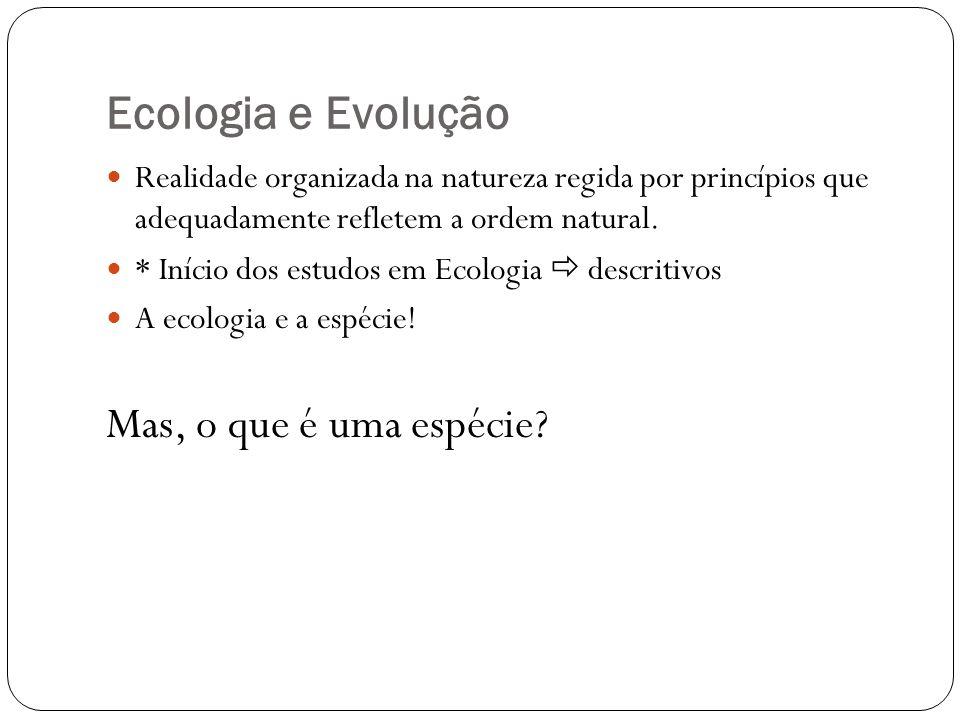 Ecologia e Evolução Realidade organizada na natureza regida por princípios que adequadamente refletem a ordem natural. * Início dos estudos em Ecologi