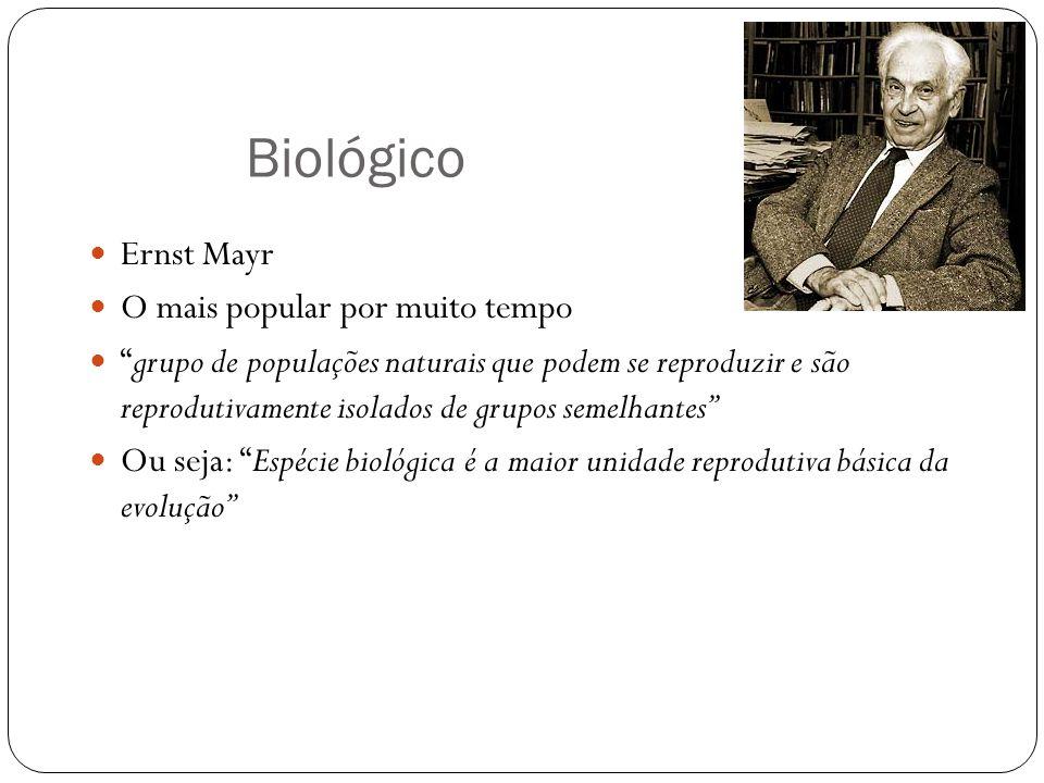 Biológico Ernst Mayr O mais popular por muito tempo grupo de populações naturais que podem se reproduzir e são reprodutivamente isolados de grupos sem