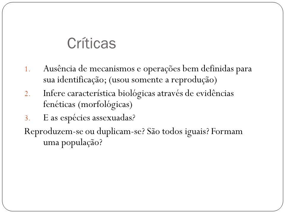 Críticas 1. Ausência de mecanismos e operações bem definidas para sua identificação; (usou somente a reprodução) 2. Infere característica biológicas a