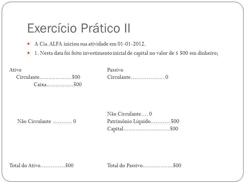 Exercício Prático II A Cia. ALFA iniciou sua atividade em 01-01-2012. 1. Nesta data foi feito investimento inicial de capital no valor de $ 500 em din