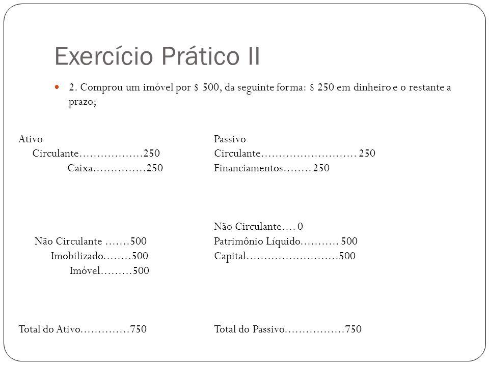 Exercício Prático II 2. Comprou um imóvel por $ 500, da seguinte forma: $ 250 em dinheiro e o restante a prazo; AtivoPassivo Circulante...............