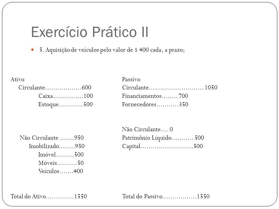 Exercício Prático II 5. Aquisição de veículos pelo valor de $ 400 cada, a prazo; AtivoPassivo Circulante..................600 Circulante..............