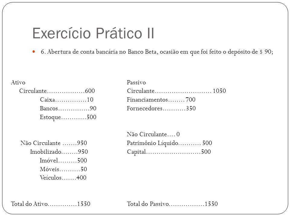 Exercício Prático II 6. Abertura de conta bancária no Banco Beta, ocasião em que foi feito o depósito de $ 90; AtivoPassivo Circulante................