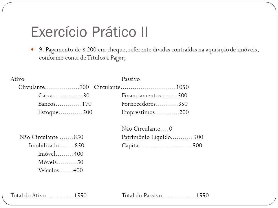 Exercício Prático II 9. Pagamento de $ 200 em cheque, referente dívidas contraídas na aquisição de imóveis, conforme conta de Títulos á Pagar; AtivoPa