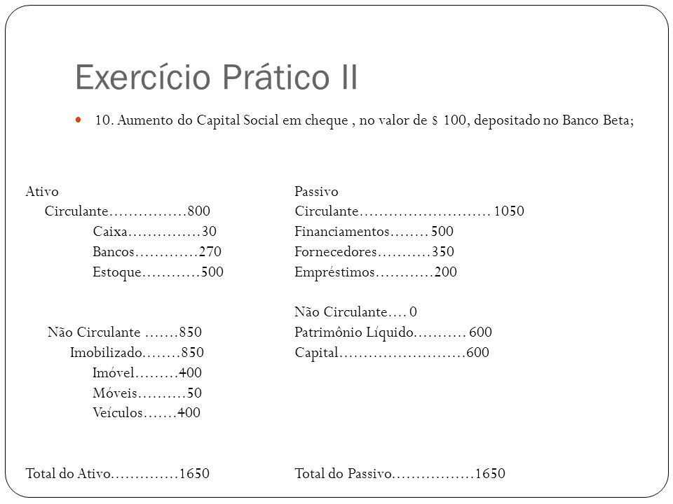 Exercício Prático II 10. Aumento do Capital Social em cheque, no valor de $ 100, depositado no Banco Beta; AtivoPassivo Circulante................800
