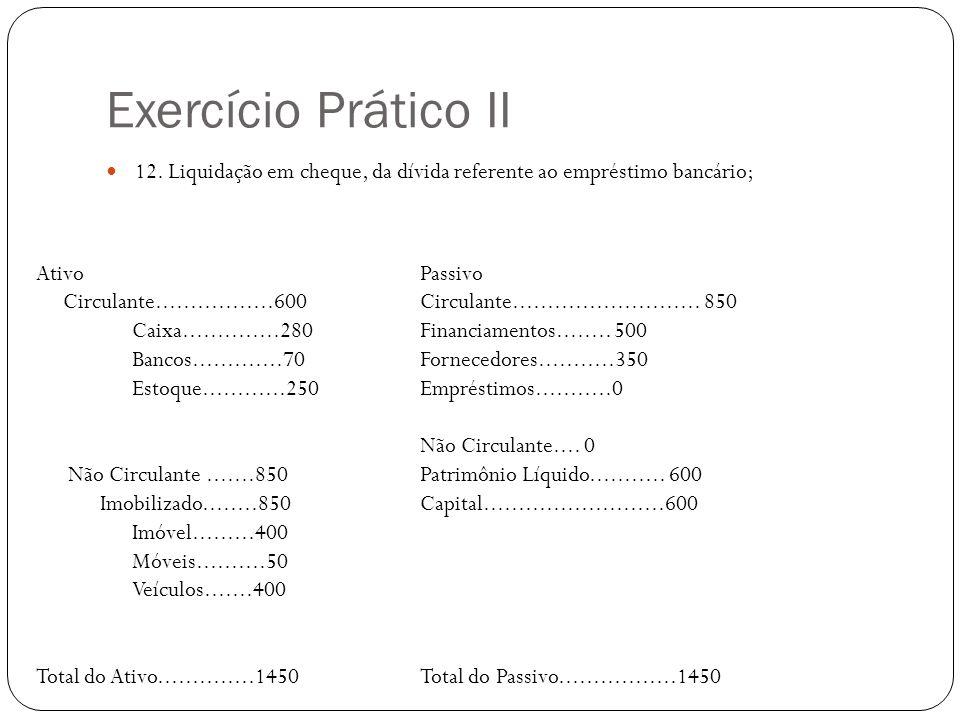 Exercício Prático II 12. Liquidação em cheque, da dívida referente ao empréstimo bancário; AtivoPassivo Circulante.................600 Circulante.....