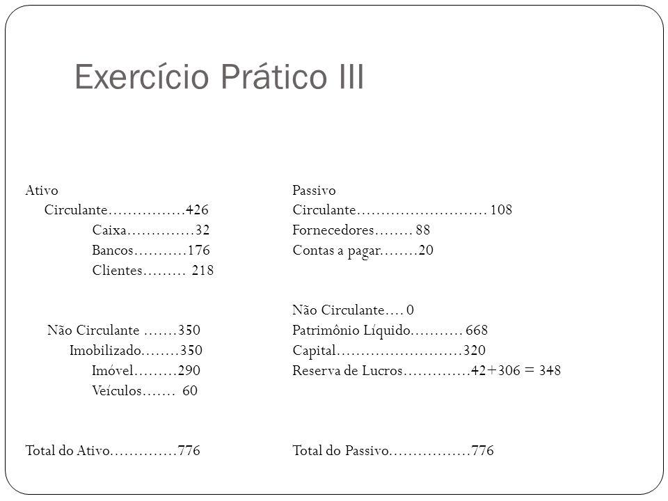 Exercício Prático III AtivoPassivo Circulante................426 Circulante...........................