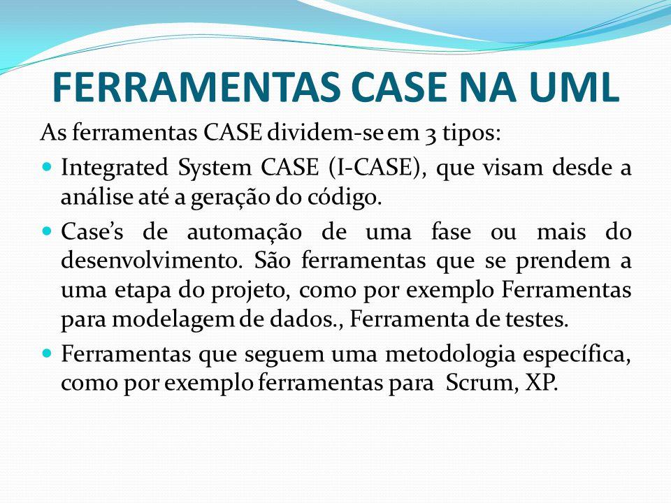 FERRAMENTAS CASE NA UML As ferramentas CASE dividem-se em 3 tipos: Integrated System CASE (I-CASE), que visam desde a análise até a geração do código.