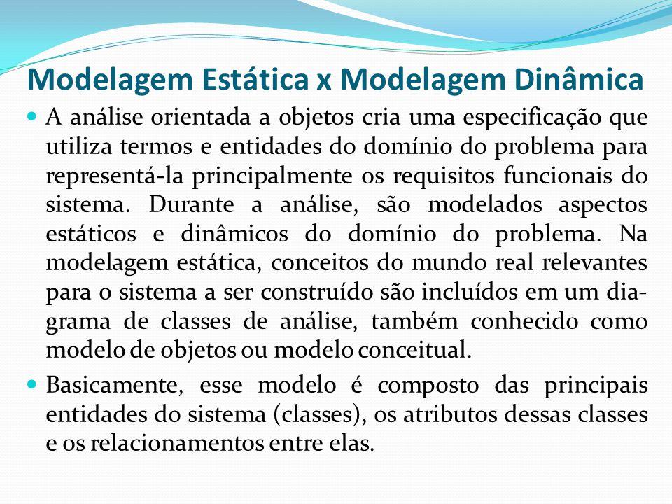 Modelagem Estática x Modelagem Dinâmica A análise orientada a objetos cria uma especificação que utiliza termos e entidades do domínio do problema par