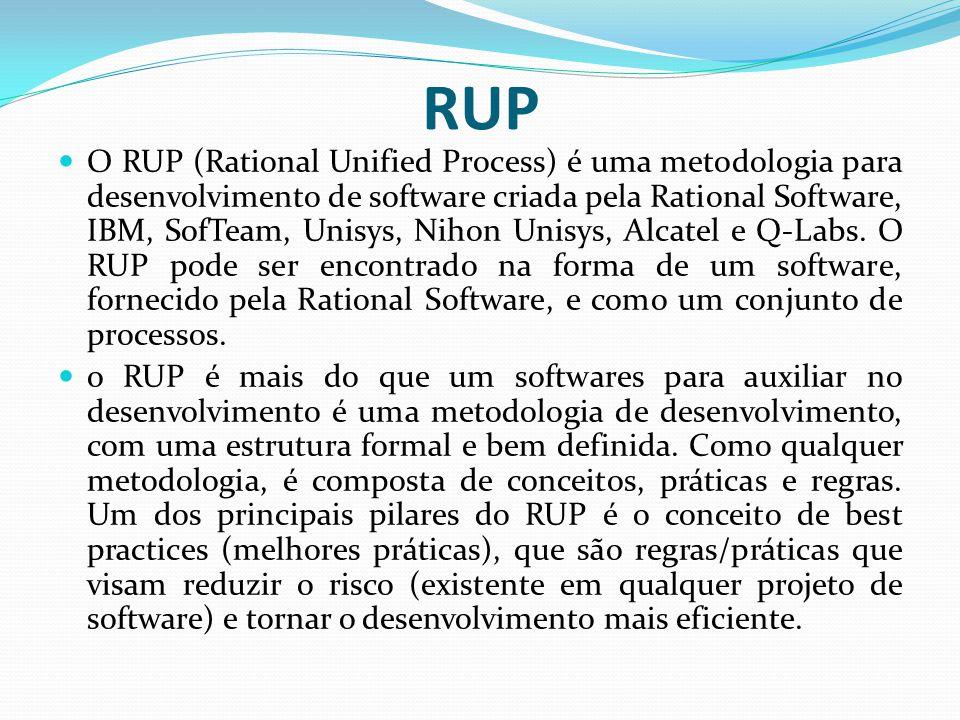 RUP O RUP (Rational Unified Process) é uma metodologia para desenvolvimento de software criada pela Rational Software, IBM, SofTeam, Unisys, Nihon Uni