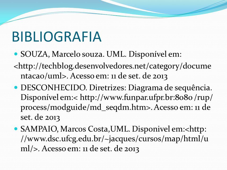 BIBLIOGRAFIA SOUZA, Marcelo souza. UML. Disponível em:. Acesso em: 11 de set. de 2013 DESCONHECIDO. Diretrizes: Diagrama de sequência. Disponível em:.