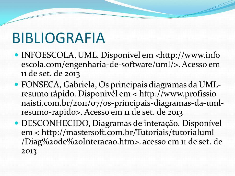 INFOESCOLA, UML. Disponível em. Acesso em 11 de set. de 2013 FONSECA, Gabriela, Os principais diagramas da UML- resumo rápido. Disponivél em. Acesso e