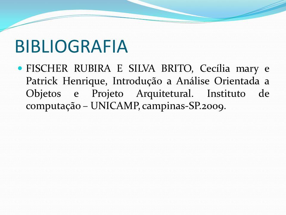 FISCHER RUBIRA E SILVA BRITO, Cecília mary e Patrick Henrique, Introdução a Análise Orientada a Objetos e Projeto Arquitetural. Instituto de computaçã