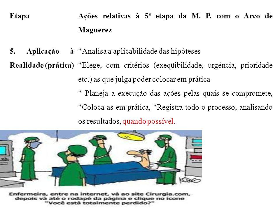 Etapa Ações relativas à 5ª etapa da M. P. com o Arco de Maguerez 5. Aplicação à Realidade (prática) *Analisa a aplicabilidade das hipóteses *Elege, co