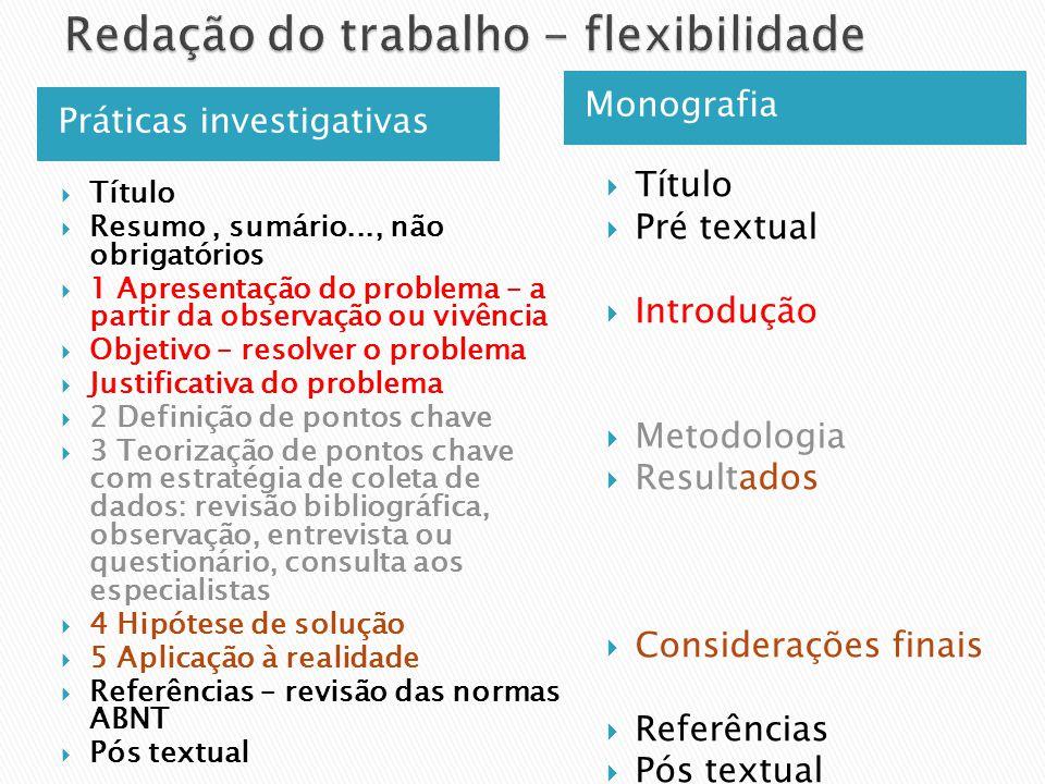 Práticas investigativas Monografia Título Resumo, sumário..., não obrigatórios 1 Apresentação do problema – a partir da observação ou vivência Objetiv