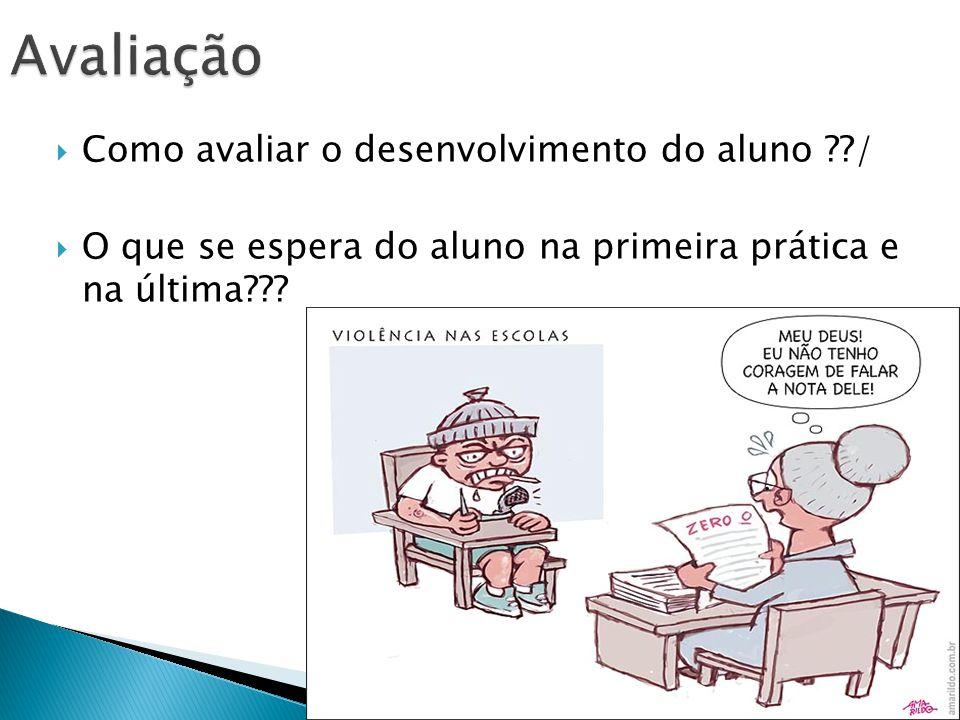 Como avaliar o desenvolvimento do aluno ??/ O que se espera do aluno na primeira prática e na última???