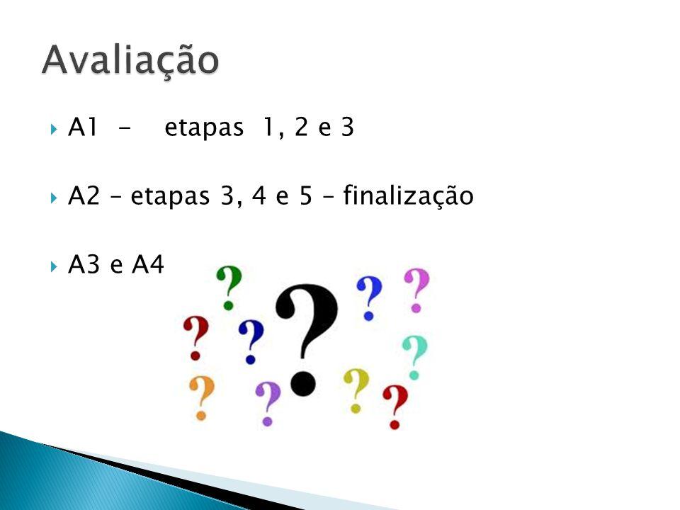 A1 - etapas 1, 2 e 3 A2 – etapas 3, 4 e 5 – finalização A3 e A4