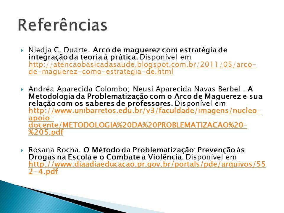 Niedja C. Duarte. Arco de maguerez com estratégia de integração da teoria à prática. Disponível em http://atencaobasicadasaude.blogspot.com.br/2011/05
