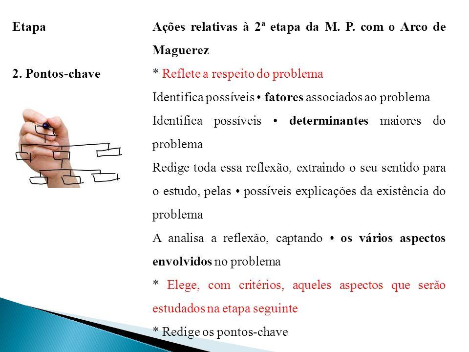 Etapa Ações relativas à 2ª etapa da M. P. com o Arco de Maguerez 2. Pontos-chave* Reflete a respeito do problema Identifica possíveis fatores associad