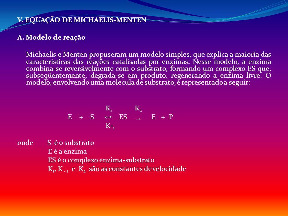 V. EQUAÇÃO DE MICHAELIS-MENTEN A. Modelo de reação Michaelis e Menten propuseram um modelo simples, que explica a maioria das características das reaç