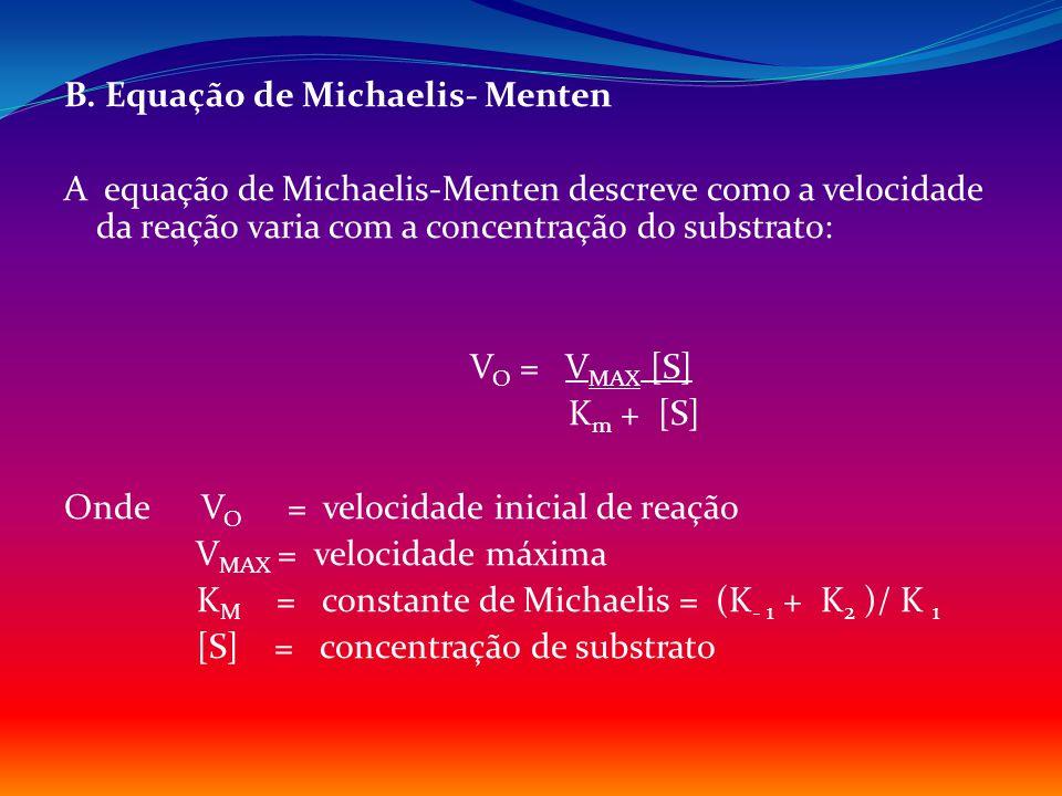B. Equação de Michaelis- Menten A equação de Michaelis-Menten descreve como a velocidade da reação varia com a concentração do substrato: V O = V MAX
