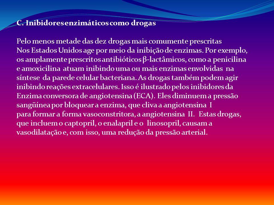 C. Inibidores enzimáticos como drogas Pelo menos metade das dez drogas mais comumente prescritas Nos Estados Unidos age por meio da inibição de enzima