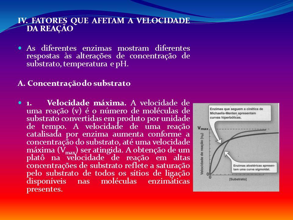 IV. FATORES QUE AFETAM A VELOCIDADE DA REAÇÃO As diferentes enzimas mostram diferentes respostas às alterações de concentração de substrato, temperatu
