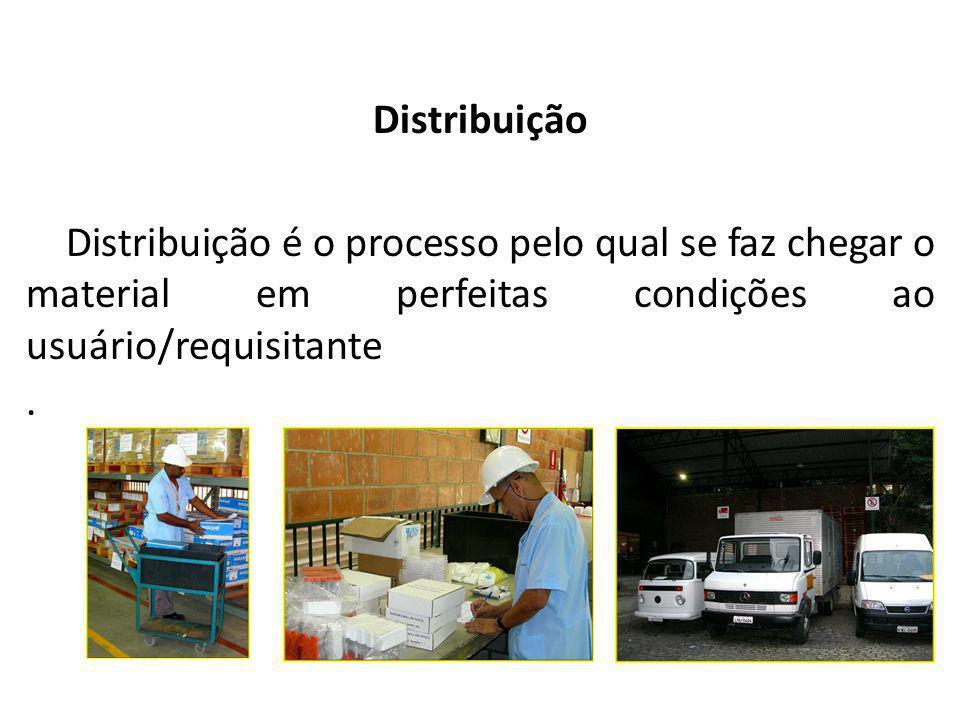 Almoxarifado Distribuição Distribuição é o processo pelo qual se faz chegar o material em perfeitas condições ao usuário/requisitante.